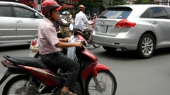4k busy city traffic intersection pedestrians rush hour centre contamination - stock footage