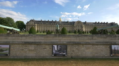 Old cannons along the perimeter wall at Hotel Les Invalides in Paris Stock Footage