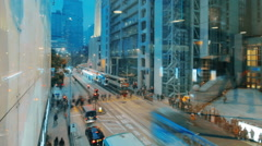 Time-lapse of luxury stores and bank headquarters in Central, Hong Kong - stock footage
