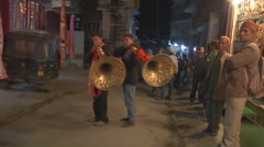 Musicians Blowing Traditional Indian Horn Stock Footage