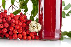 Studio shot of cropped red ash-berry with blossom, green leaves and jar of ju Stock Photos