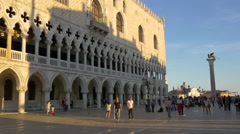 Young tourists walking in Piazza San Marco on a sunny day, Venice Stock Footage