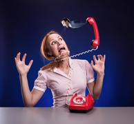 Business woman in stress - stock photo