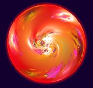 Stock Illustration of Abstract sphere resembling red planet with atmosphere in space. Fractal art