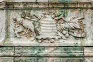 Stock Photo of Detail from the wall underneath The Hungarian Royal Palace.