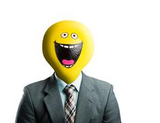 Businessman with smiley face instead of head - stock illustration