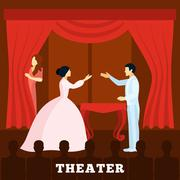 Theatre Stage Performance With Audience poster - stock illustration
