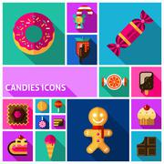 Candy Icons Set - stock illustration