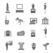 Museum Icons Set Stock Illustration