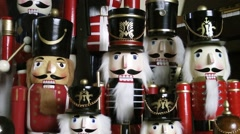 Nutcracker soldiers figures Christmas decorations singing Stock Footage