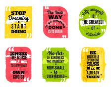 Famous quotes colored textured icons set Stock Illustration