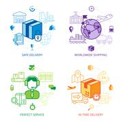 Logistics Design Line Icons Set - stock illustration