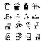 Stock Illustration of M-commerce Black White Icons Set