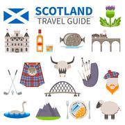 Scotland Travel Icons Set - stock illustration