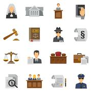 Law Icons Flat Set Stock Illustration