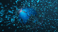 Worldwide communications network. View of spinning globe - stock footage