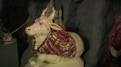 Hindu God Nandi and Goddess Parvathi in Shiva Temple. Bangalore, India Stock Footage