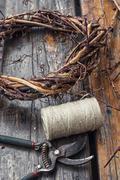 Weaving wreath of vines - stock photo