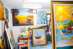 Hua Hin, Thailand - October 23: The artist, born from the merger of the paint Stock Photos