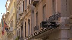 Hotel Flora street indicator on Calle Larga XXII Marzo in Venice Stock Footage