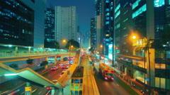 Traffic along Queensway, Admiralty, Hong Kong Stock Footage