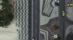 Stock Video Footage of Top View of Copacabana beach with mosaic of sidewalk in Rio de Janeiro. Brazil