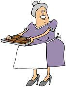 Old lady with a tray of brownies Stock Illustration