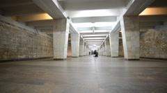 Nizhny Novgorod, RUSSIA, The interior of subway station Dvigatel Stock Footage