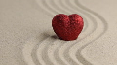 The heart standing in the undulating sand, removal Stock Footage