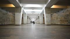 Nizhny Novgorod, RUSSIA,The interior of subway station Dvigatel Stock Footage