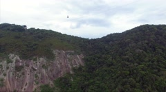 Stock Video Footage of Aerial view of Sugarloaf Mountain with Cable Car in Rio de Janeiro, Brazil