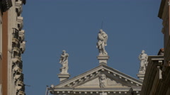 Three statues on top of Chiesa di San Moise, Venice Stock Footage