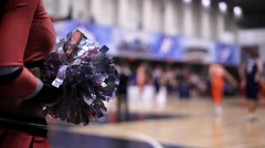 Girls of cheerleaders support the basketball team Stock Footage