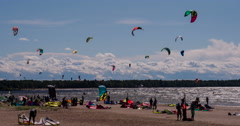 Great Weather for Kiteboarding. - stock footage