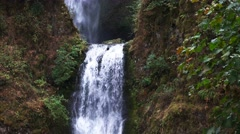 Stock Video Footage of multnomah falls lower step