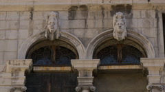 Head sculptures on Benedetto Marcello Music Conservatory, Venice Stock Footage