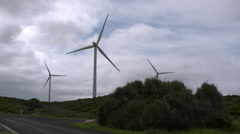 Australia Great Ocean Road windmills and clouds Stock Footage
