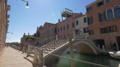 Beautiful bridge with railings and stairs in Venice - stock footage