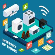 Iot concise household isometric concept icon Stock Illustration