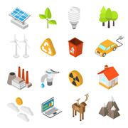Ecology And Environment Protection Icon Set - stock illustration