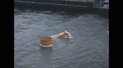 Vintage 16mm film, 1970, Japan, Ama pearl divers, Mikimoto Stock Footage