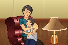 Mother comforting her kid Stock Illustration