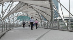 Helix Bridge. Marina Bay, Singapore. A lot of foot traffic. Stock Footage