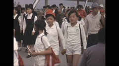 Stock Video Footage of Vintage 16mm film, 1970, Japan, schoolchildren