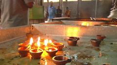Candles in Meenakshi Hindu Temple Stock Footage