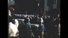 Vintage 16mm film, 1970, Japan, protest flags and people Stock Footage
