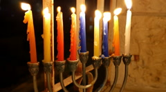 Hanukkah Candles,  Jewish Holiday Stock Footage