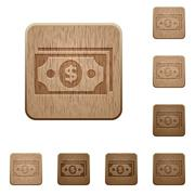 Dollar banknotes wooden buttons - stock illustration