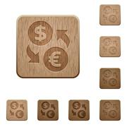 Money exchange wooden buttons - stock illustration