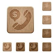 Money call wooden buttons - stock illustration